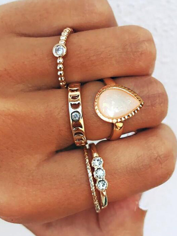 Simple Hollow Various Styles 5Pieces Rings