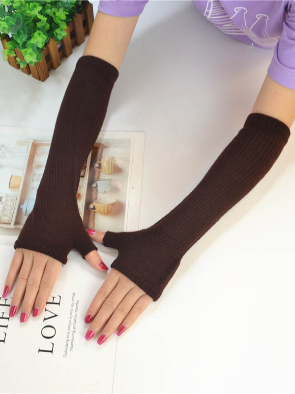 Knitted Half Finger Long Gloves Accessories