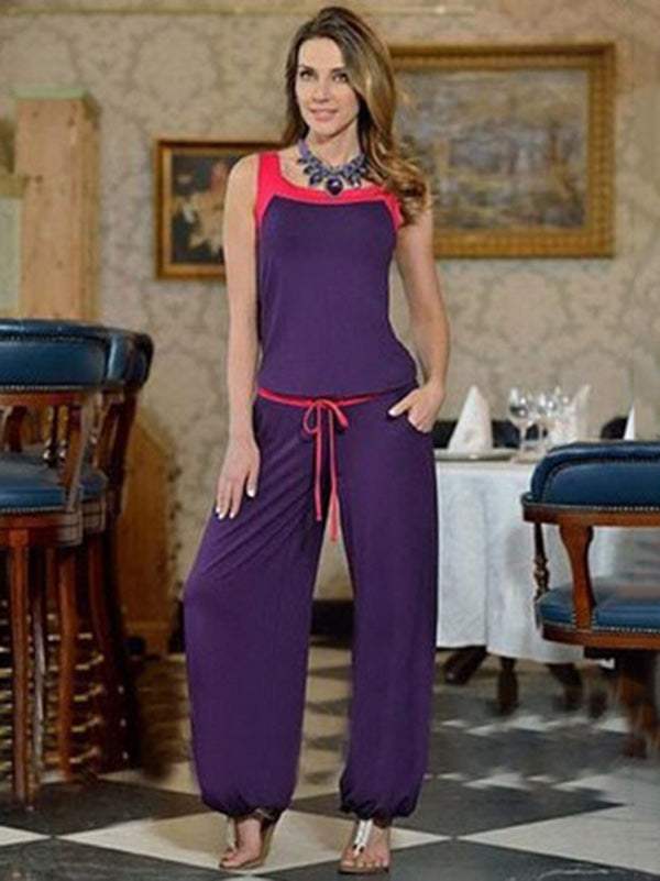 Two Tone Tops And Wide Leg Pants Suits