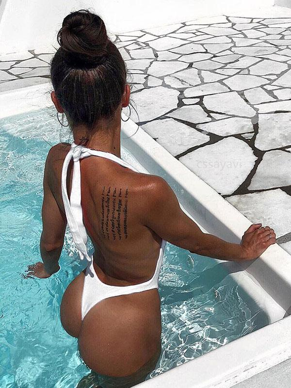 Halter-neck Backless Plain Bikinis Swimwear