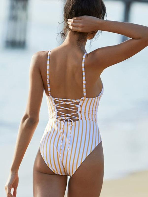 Lace-Up Stripes Fresh One-piece Swimwear