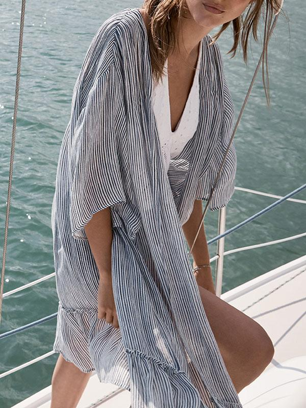 Strips Half Sleeve Beach Cover-Ups