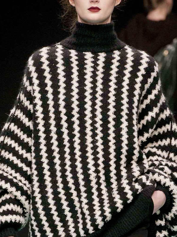 Casual Stripe Printed High-neck Sweater