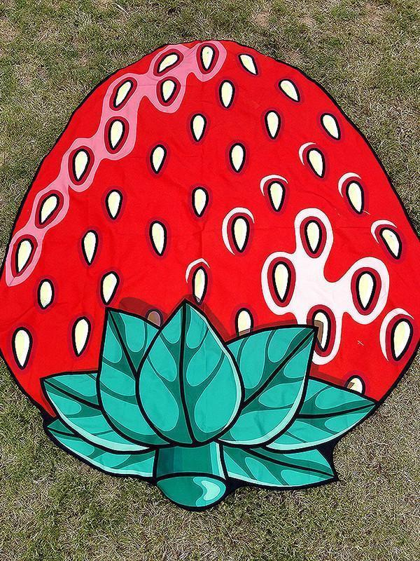 Sweet Strawberry Vacation Round Scarve Shawl Beach Mat