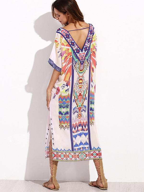 V-neckline Short Sleeves Maxi Print Bohemia Dress