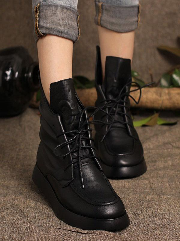 Lace-up Cowhide Soft Short Martin Boots
