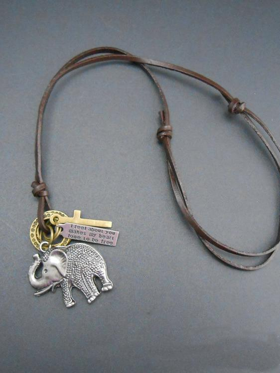 Punk Elephant Pattern Necklaces Accessories