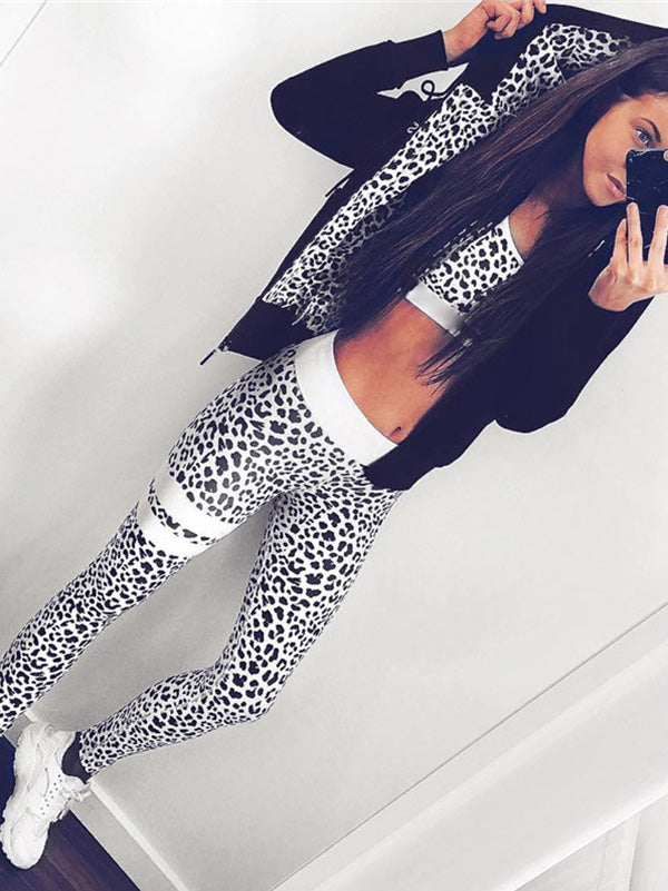 Leopard Print Gym Bra And Leggings Suits