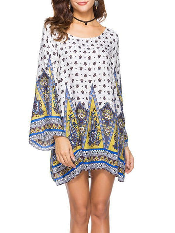 Floral Printed Kaftan Mini Dress