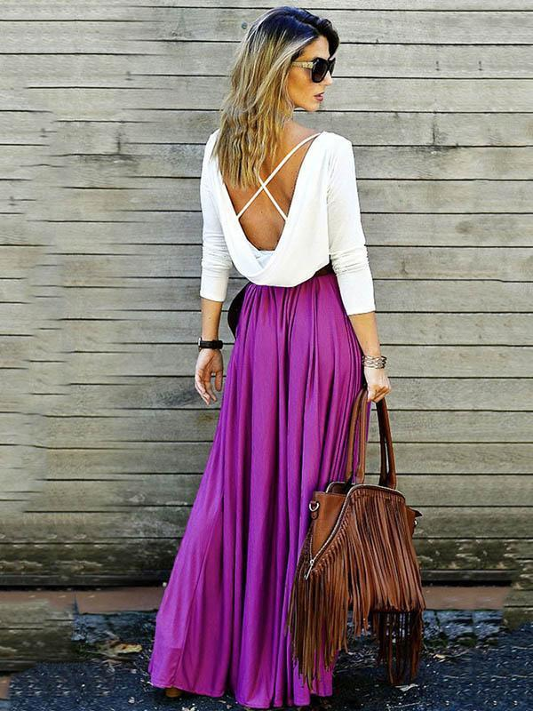 Simple Backless Maxi Dress