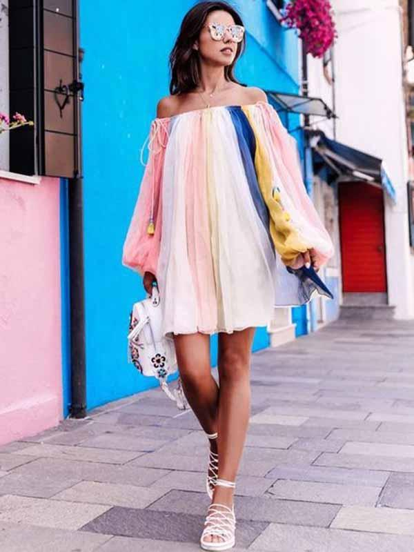 Striped Off-the-shoulder Puff Sleeves Mini Dress