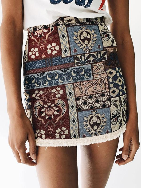 Vintage Printed Tasselled Short Skirt Bottom