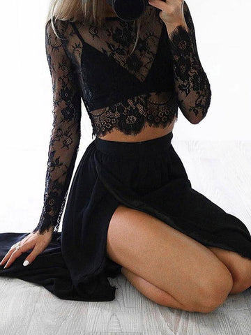 Lacy Split-joint Bow-embellished Shirt&Bell-Bottom Suits