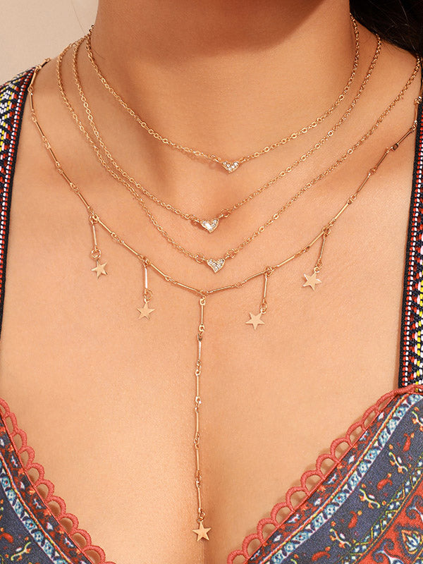 Multi-layer Star Moon Necklace
