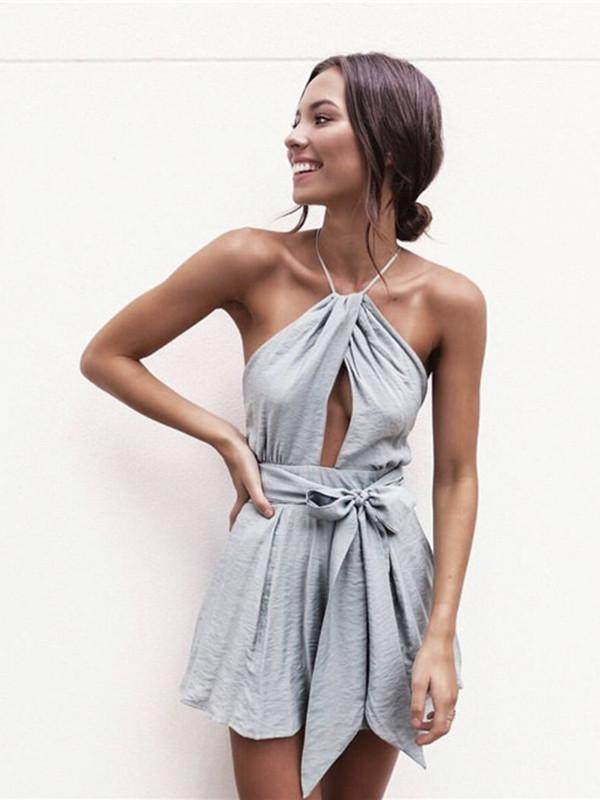 Pretty Sexy Solid Color Straps Off-Back Lace-Up Short Jumpsuits