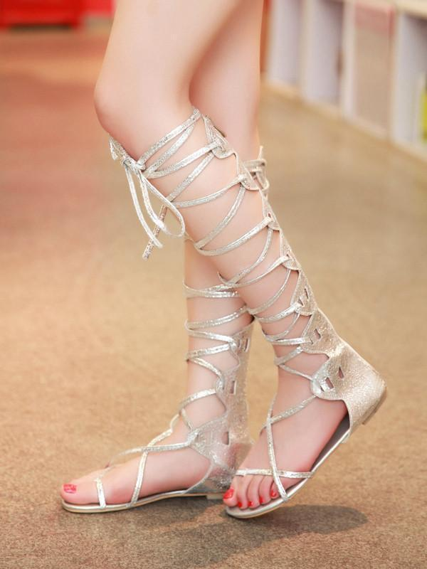 Popular Solid Color Hight Barrel Lace-Up Slight Heel Suede Sandals