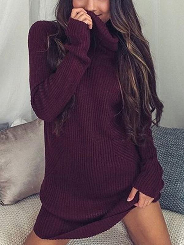 Solid Color Long Sleeve High Collar Sweater Tops