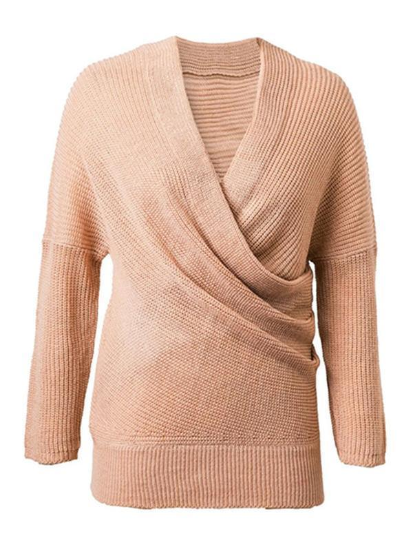 4 Colors Knitting V-neck Sweater Tops