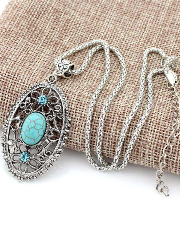 Vintage Hollow Turquoise Necklaces Accessories
