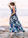 Floral Printed Spaghetti V-neck Beach Maxi Dress