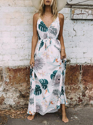 Bohemia Floral Front Split with Tie Long Sleeve Maxi Dress