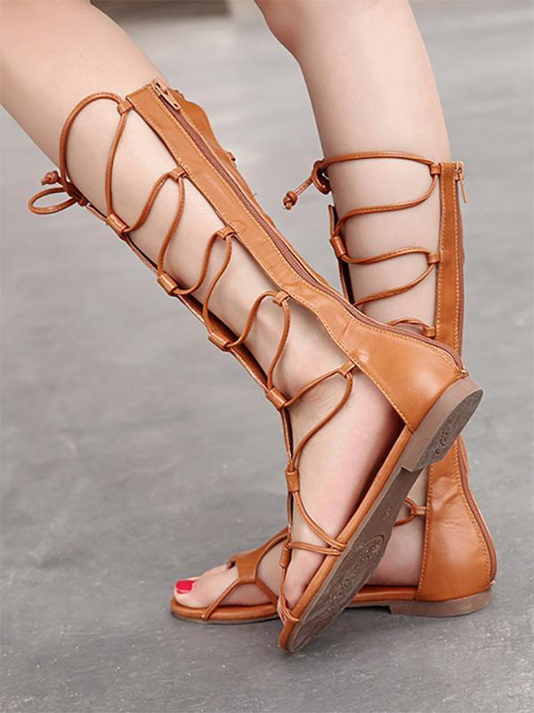 Bohemia Bandage Hight Barrel Hollow Slight Heel Suede Sandals