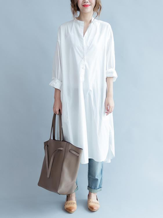 cb2da0e6100 Simple Stand-collar White Long Blouse Dress