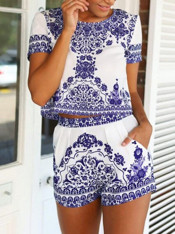 Floral-Print Short Sleeve Round Neck Bohemia Shirt and Shorts Suits
