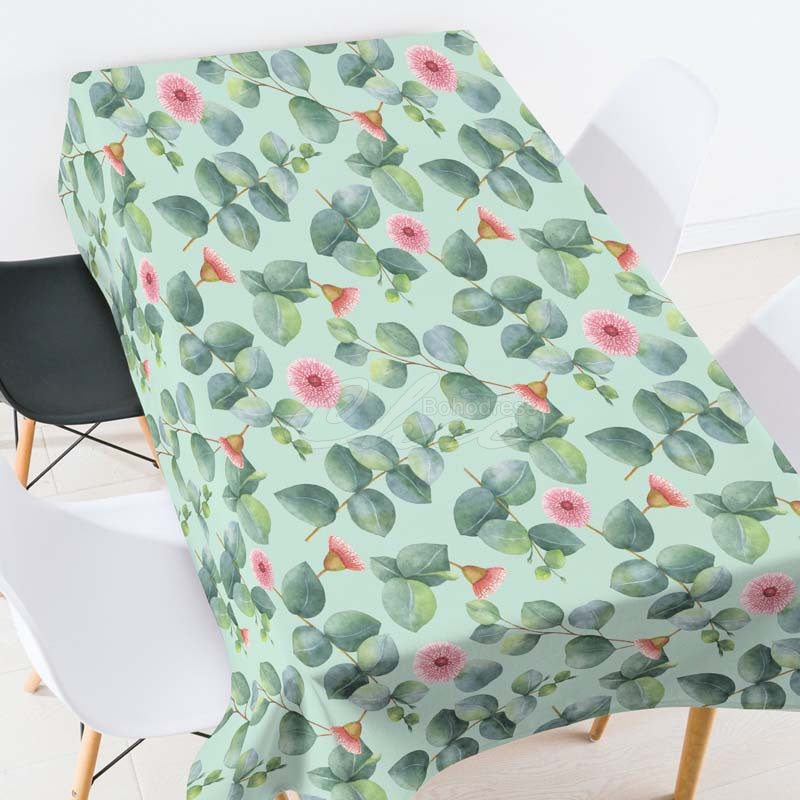 Red Flower Green Plant Casual Printed Tablecloth