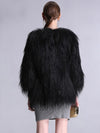 Elegant Black Faux Fur Coat