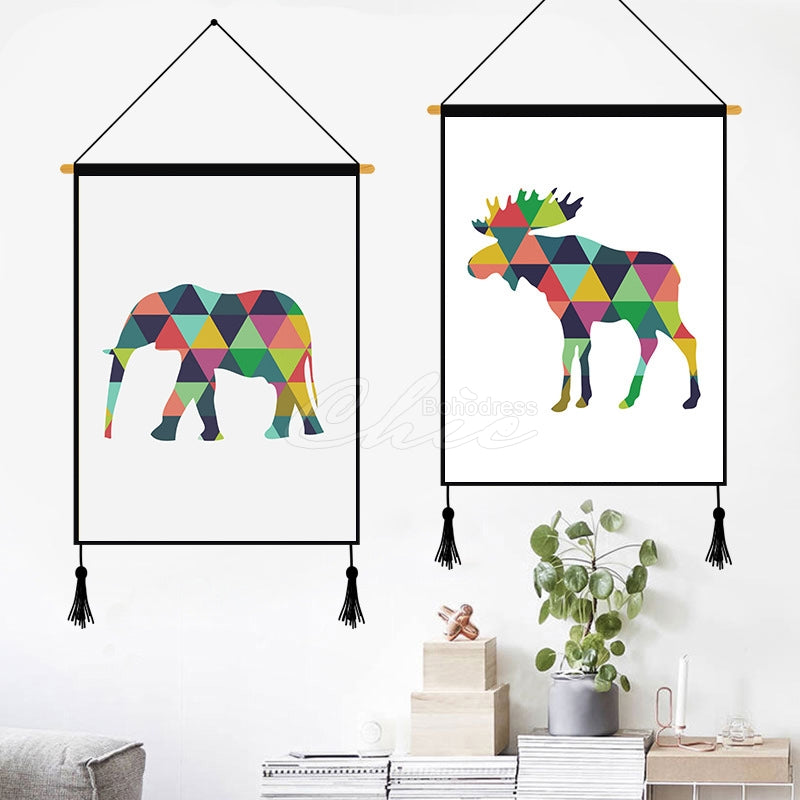 Colorful Deer Geometric Printed Wall Hanging Decoration