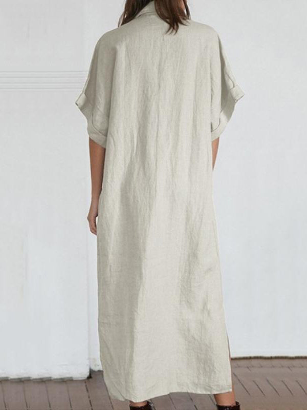 Loose Solid Color Maxi Shirtdress
