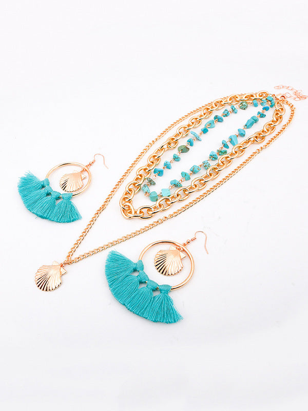Shell  Tassel Earring And Necklace Accessories