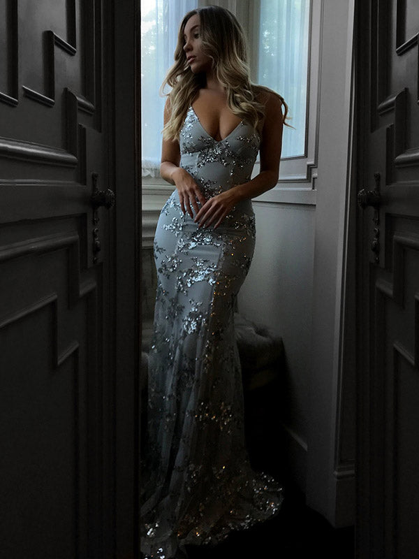 Sexy Backless Sequins Maxi Evening Dress