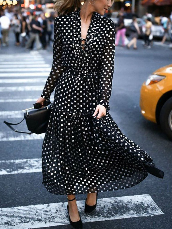 Bohemia Polka-dot Big Hemline Maxi Dress