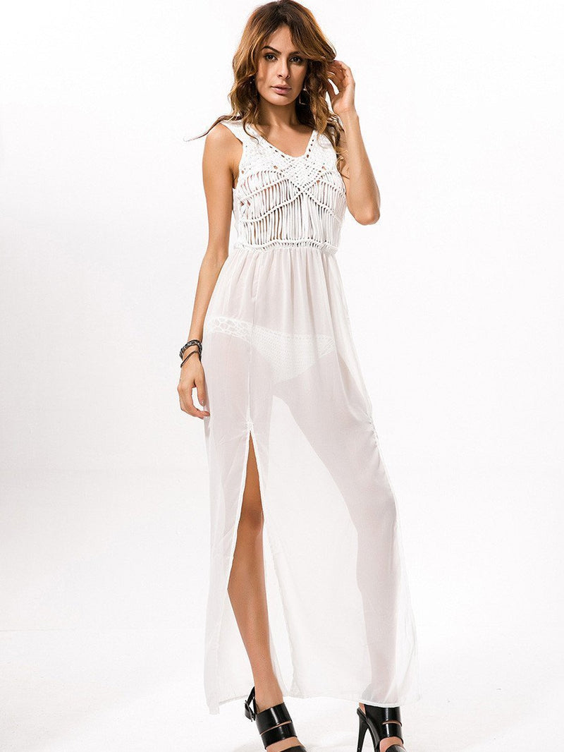 Pretty Chiffon Sleeveless V Neck Side Split Beach Maxi Dress