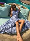 Short Sleeve Printed Striped Bohemia Maxi Dress