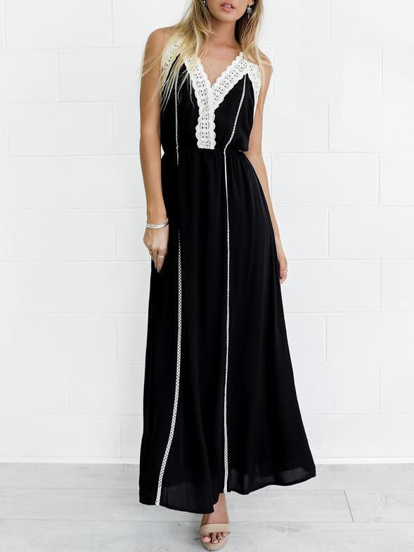 Bohemia Solid Color Helterneck Maxi Dress