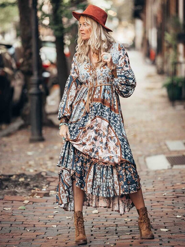 Fashion Irregularity Puff Sleeves Bohemia Dresses