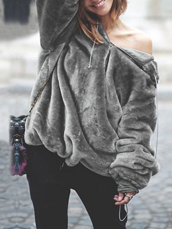 Fashion Solid Color Faux Fur Coat Tops