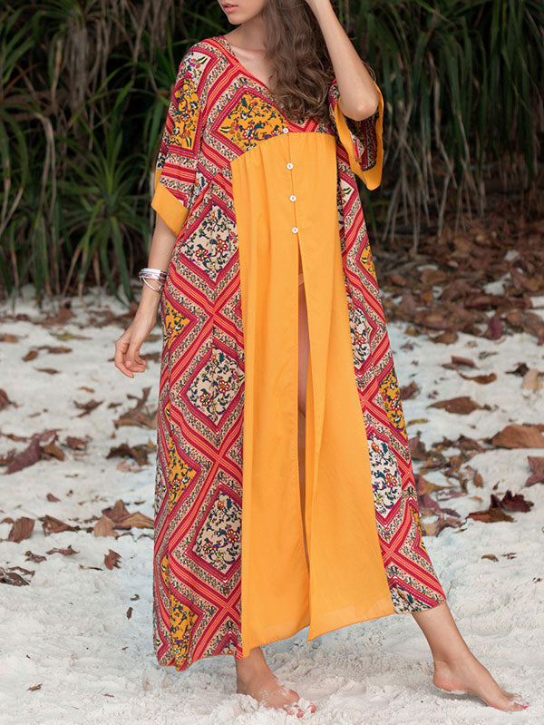 Loose Plus Size Split-front Beach Maxi Dresses