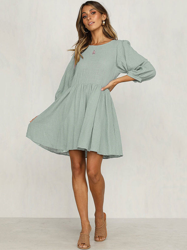 Solid Elastic Loose Bohemia Mini Dresses
