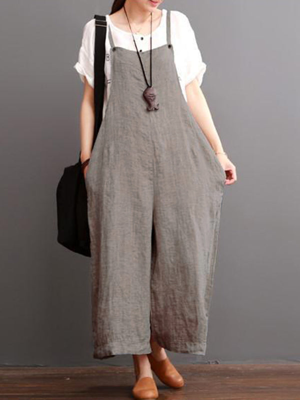 Gray Linen Wide Leg Loose Jumpsuits
