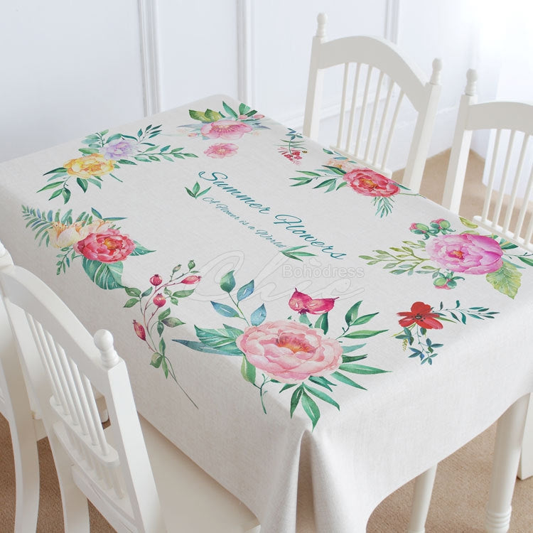Summer Flower Pattern Casual Printed Tablecloth