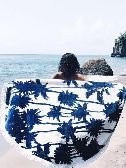 Popular Leaf Pattern Tassels Round Beach Mat Yoga Mat