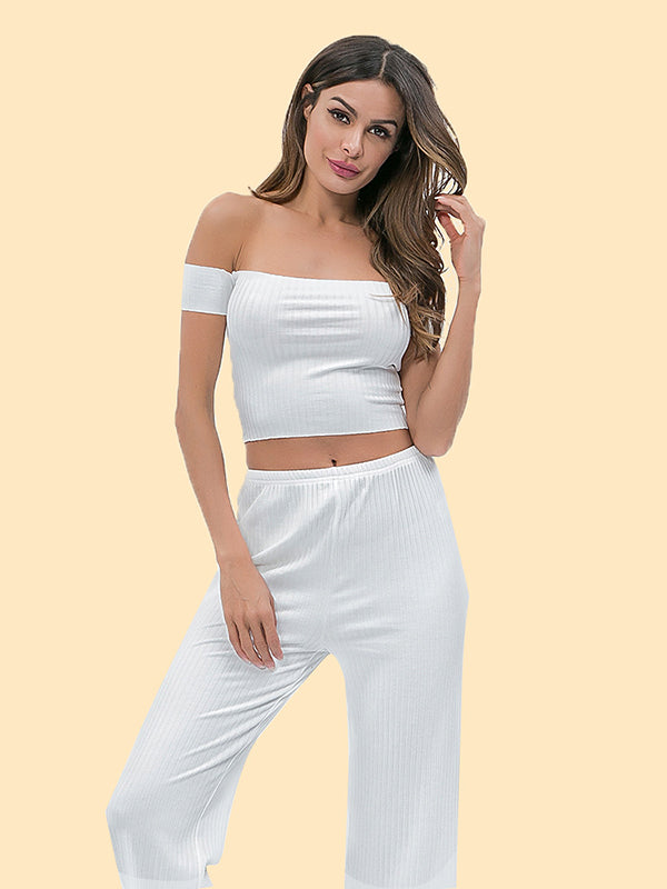 Off The Shoulder Crop Tees And Casual Pants Suits