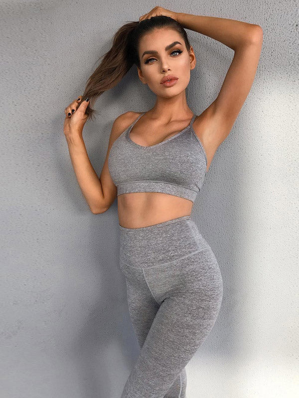 Solid Mesh Panel Bra And Sports Leggings