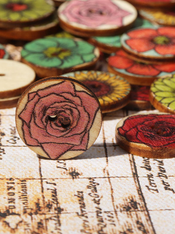 Vintage Colorful Printed Round Buttons