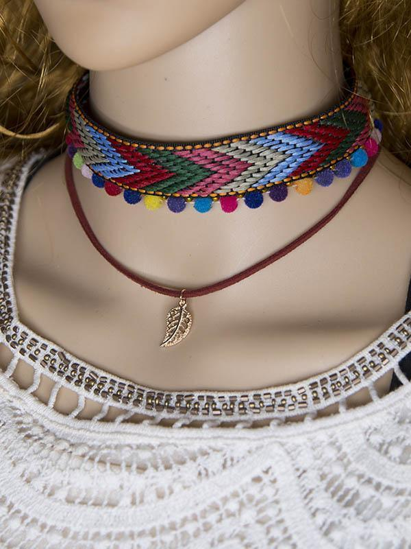 Hand Knitting Choker With Leaf Necklaces Accessories