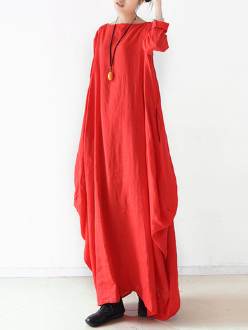 Solid Color Long Sleeves Split-side Maxi Dress